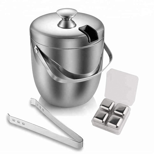 2.8L Stainless Steel Ice Bucket and Tongs