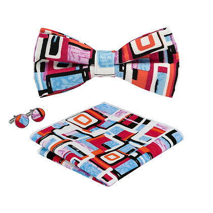 Red Abstract Bow Tie Set