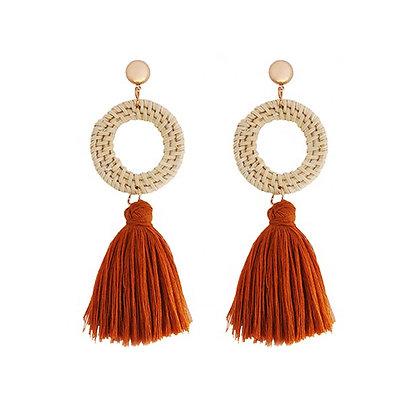 Circle Cotton Tassel Earrings
