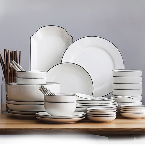 49 Piece White Ceramic Dinnerware Set
