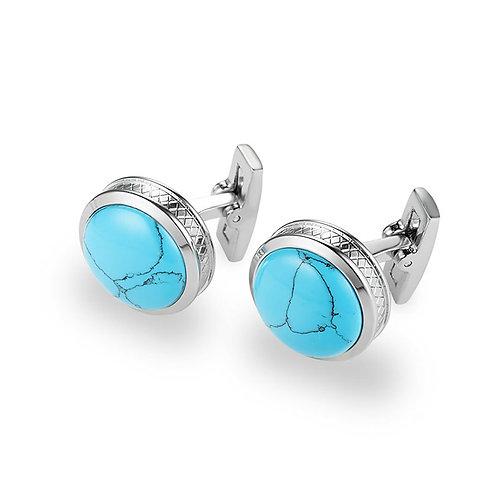 Silver Round Turquoise Cufflinks
