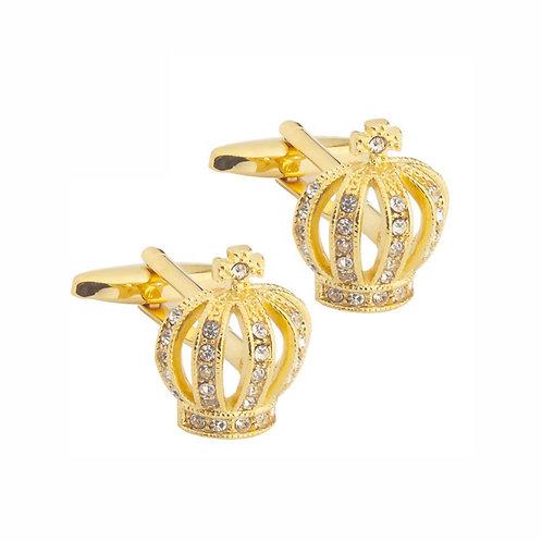 Gold Diamond Crown Cufflinks