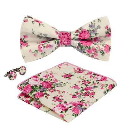 Pink Floral Bow Tie Set