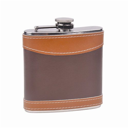 8 Oz Hip Flask with Leather Wrap