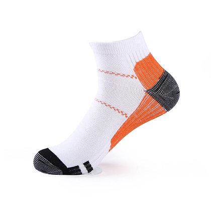 Tri-Block Athletic Ankle Socks in Orange