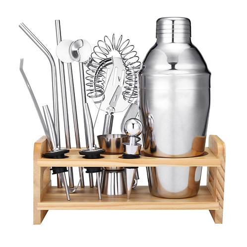 8 Piece Bar Tool Set with Stylish Bamboo Stand
