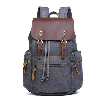 Waterproof Canvas and Leather Travel Backpack