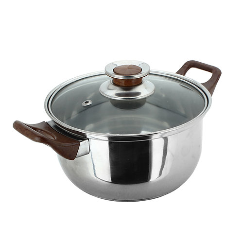 Stainless Steel 20cm Stock Pot with Wooden Handles
