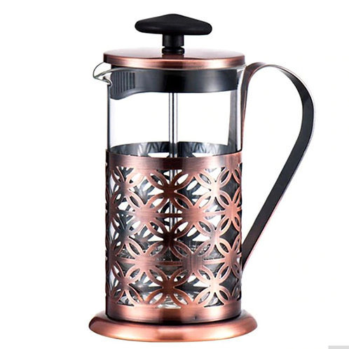 Stainless Steel Vintage Manual Coffee Maker Pot Glass Teapot Filter Press E5M1