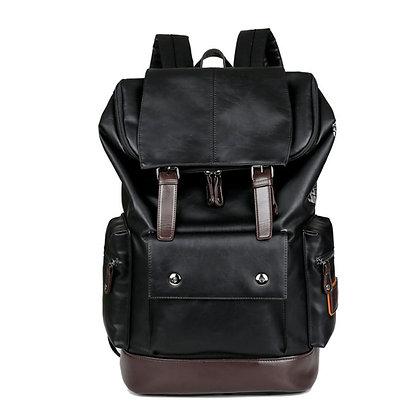 Black Leather Laptop Backpack