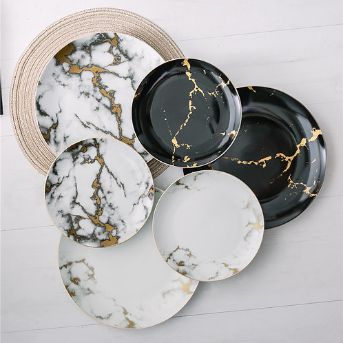 6 Piece Marble Plate Set