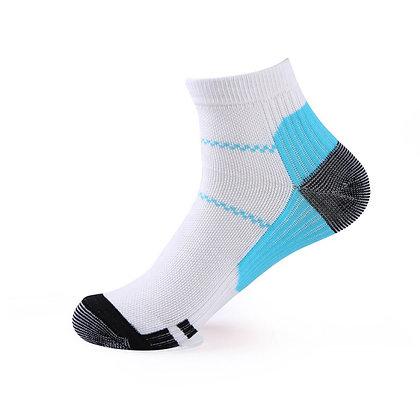 Tri-Block Athletic Ankle Socks in Sky Blue