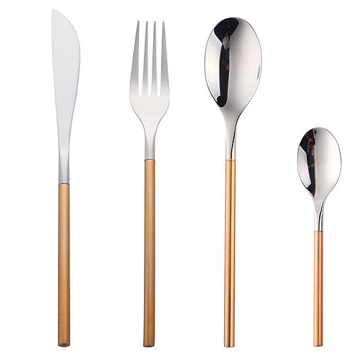 16 Piece Gold Handle Cutlery