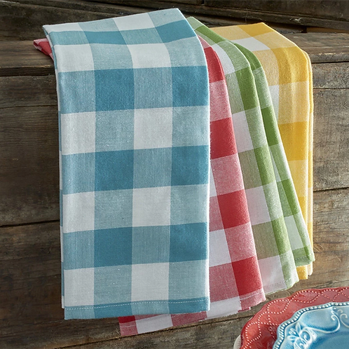 Set of Four Checkered Tea Towels