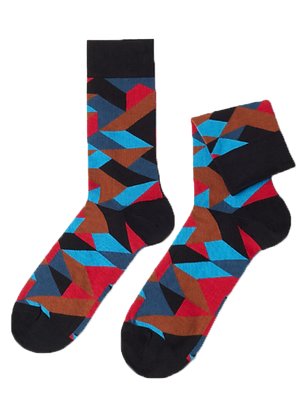 Black Colorful Geometric Socks