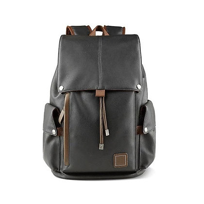 Leather Backpack with Side Compartments