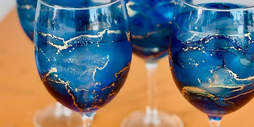 TOOWOOMBA - Stellarossa - Make your own alcohol ink Wine Glasses set