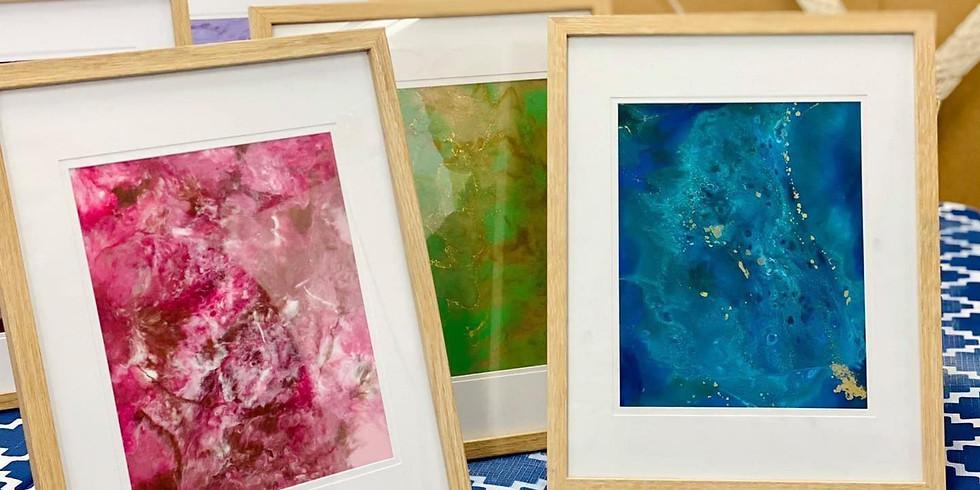 TOOWOOMBA - Stellarossa - 2 PC Framed Resin 'Christmas Lights' colours Art