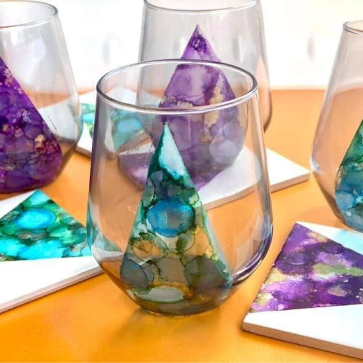 TENTERFIELD - Community College - Alcohol ink stemless wineglasses & matching coasters (x4 each)