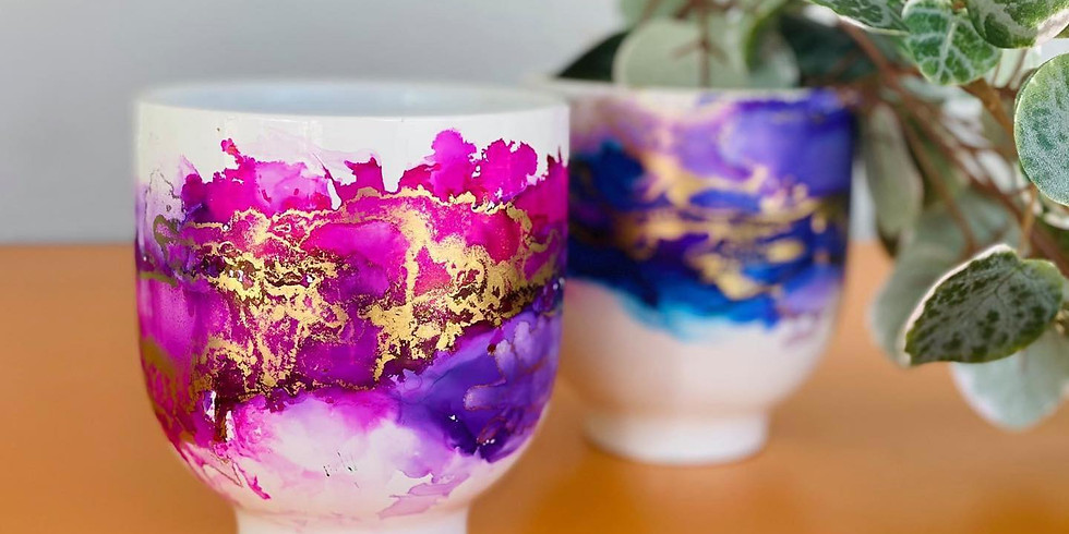 TOOWOOMBA - TCC - Learn to make an alcohol ink decorated planters x 3