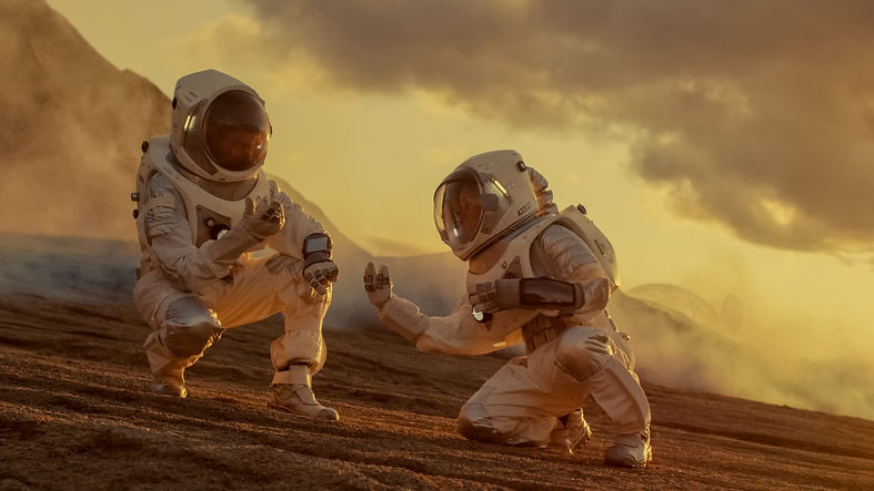 Two Astronauts Collect Soils Samples on