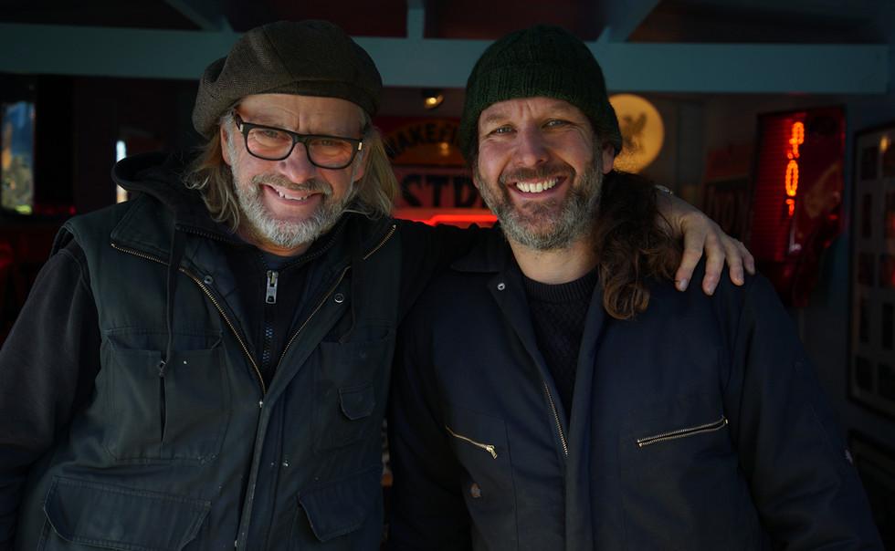 Henry Cole & Sam Lovegrove in Shed.JPG