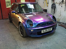 A mini with pearlescent paint.