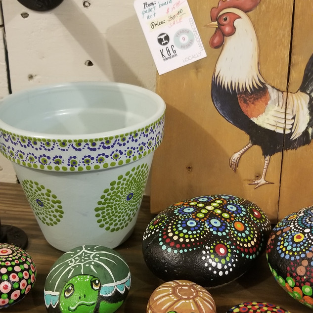 Hand Painted pottery and rocks