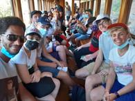 dans le  train en vapeur de Pélion « Moutzouris »