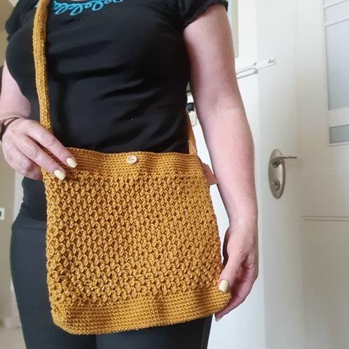 Crocheted Bag Yellow Mustard Square
