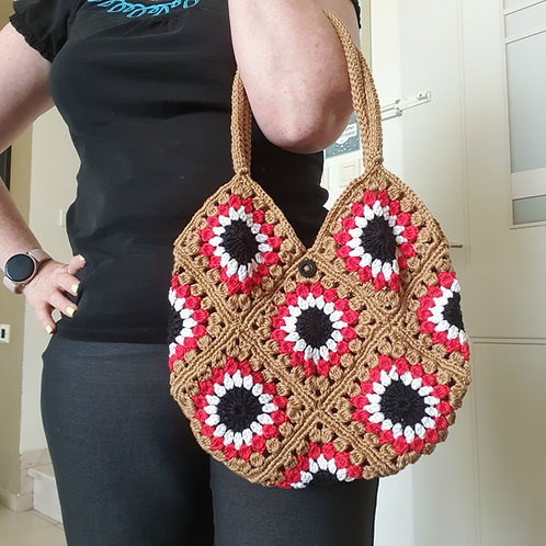 Crocheted Bag Red Anemones Patches