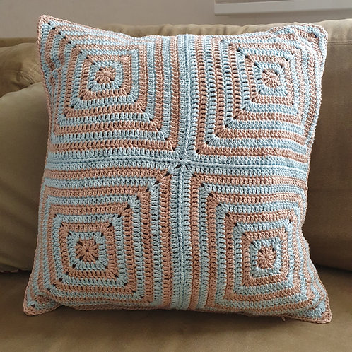 Pillow Cover 45/45 off-white and light blue
