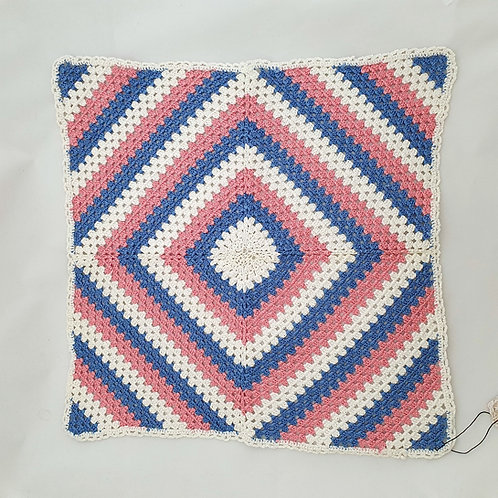 Knitted Square in Blue White and Pink