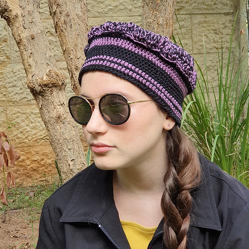 כובע אופנתי סרוג שחור וסגול לאשה ולנערה