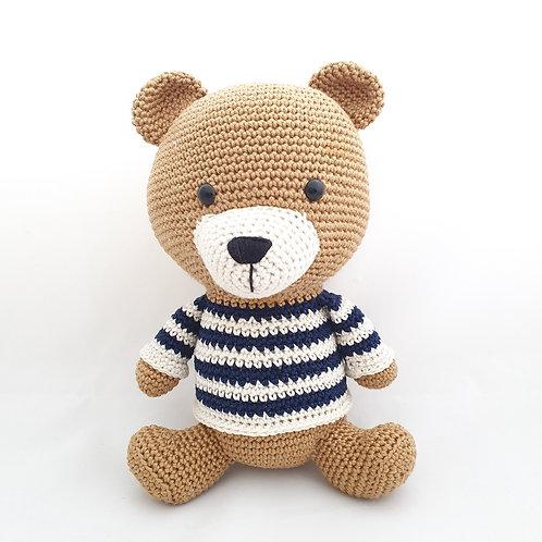 Bear wearing a striped sweater