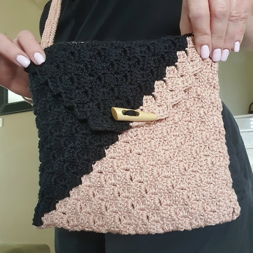 Knitted Pink and Black Side Bag
