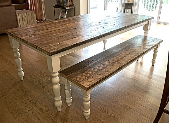Old English, reclaimed top and solid color base