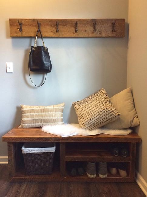 Rustic bench and coat rack