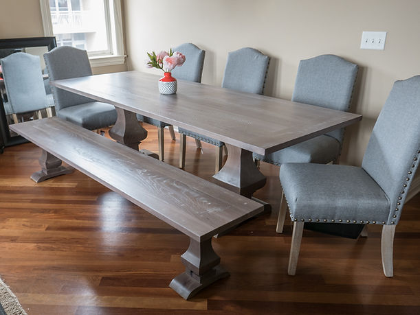 Walden Pedestal Table and Bench