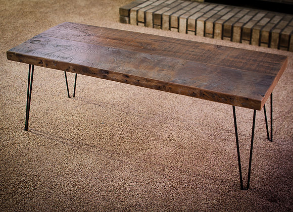 Reclaimed rustic barn wood coffee table with hairpin legs