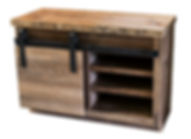Solid reclaimed barn wood old growth rustic media console with sliding barn door