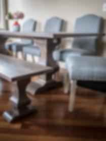 TruCraft Furniture Chicago Walden solid hardwood trestle pedestal modern dining kitchen table