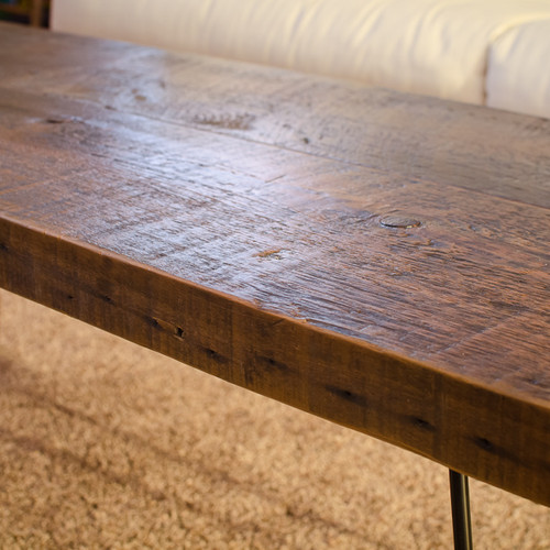 Reclaimed rustic barn wood coffee table with hairpin legs - TruCraft Handmade Custom Wood Furniture Store Chicago Shop