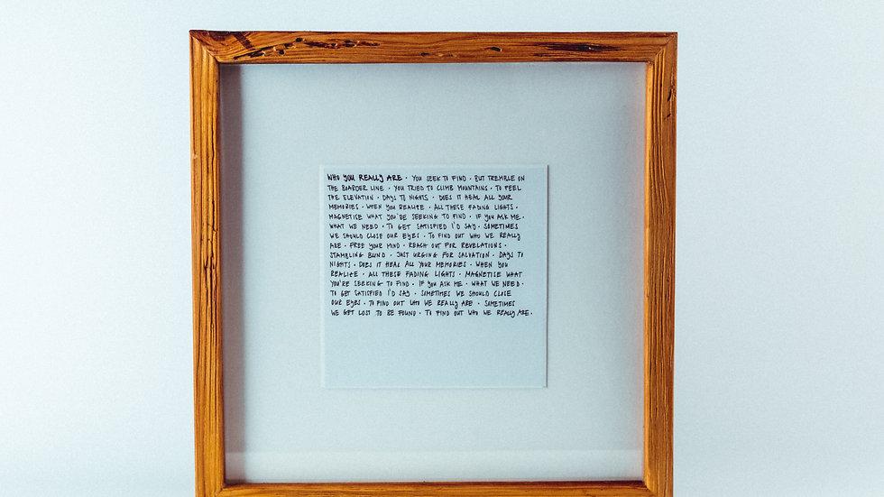Lyric Bild - Einzelstücke handgeschrieben