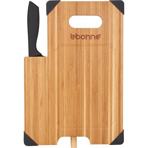 Planche à découper en bambou avec couteau assorti