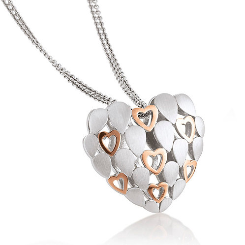 Sterling Silver and Rose Gold Plated Puffed Heart Pendant