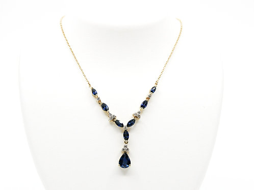 Vintage Blue Sapphire and Diamond Necklace