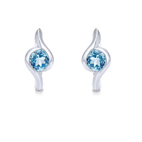 925 Sterling Silver 15mm Round Blue Topaz Bypass Huggies