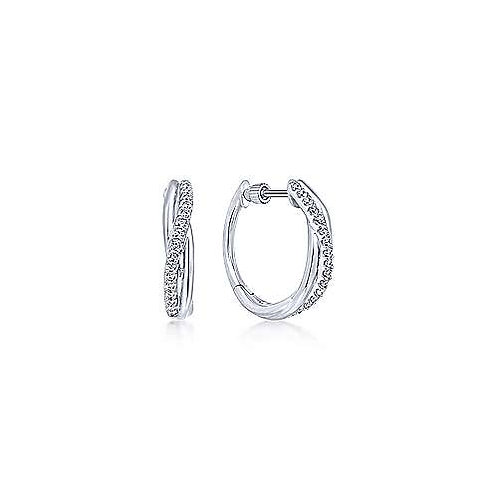 Sterling Silver Twisted 15mm White Sapphire Huggie Earrings