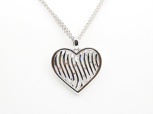 Sterling Silver and Gold Plated Heart Necklace